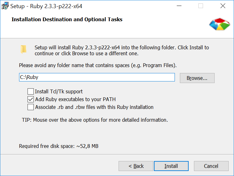 Install options ruby