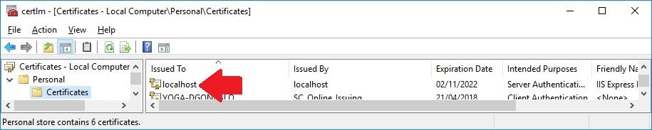 Consola certificados de windows