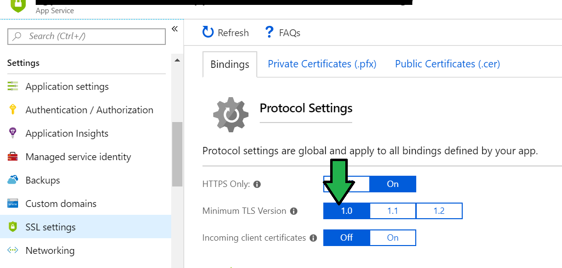 Cambiando TSL en Web App Azure