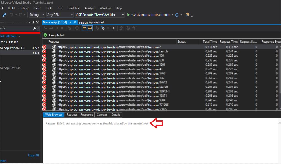 Performance test, error ejecutando desde el Visual Studio