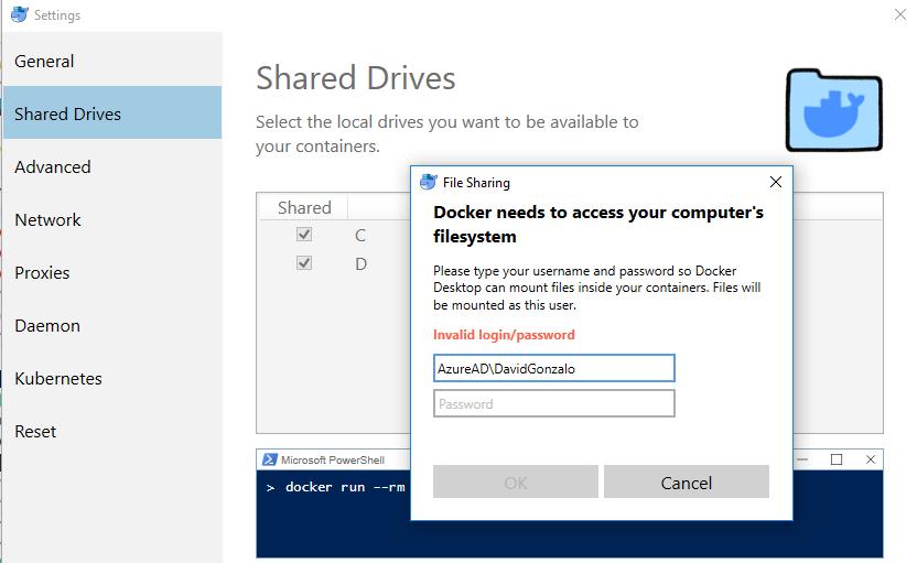 Error compartiendo discos en docker con usuario del AzureAD